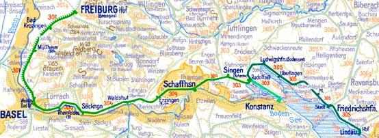 Streckenplan des E 735 und des E 738