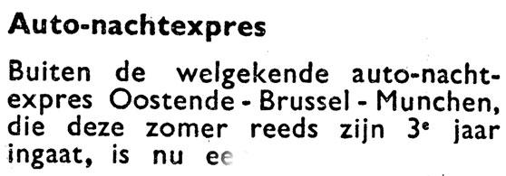 Ausschnitt aus Kursbuch der SNCB 1958