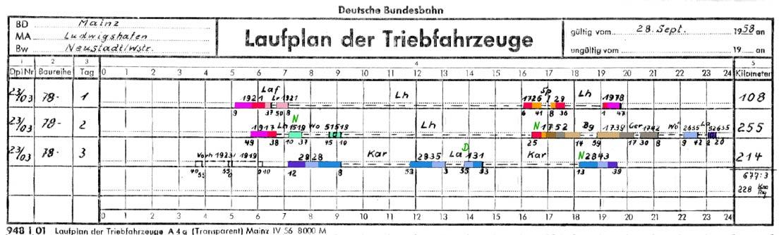 Laufplan 03 für BR 78 des Bw Neustadt/Weinstr